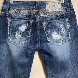 Miss Me jeans distressing and embroidery details